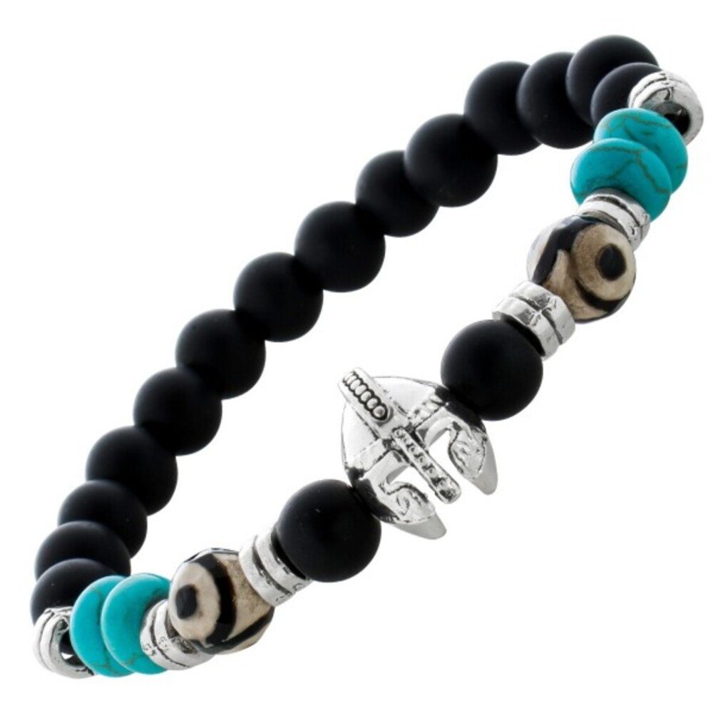 Dehnbares Ritterhelm Herren Armband Kugelarmband schwarz türkis Metall Zwischenteile 21cm