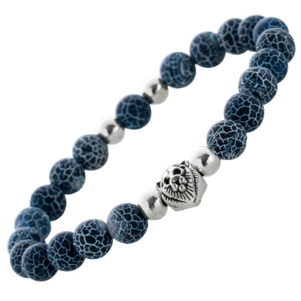 Dehnbares Löwenkopf Herren Armband Lava Kugelarmband schwarz blau Metall Zwischenteile 21cm