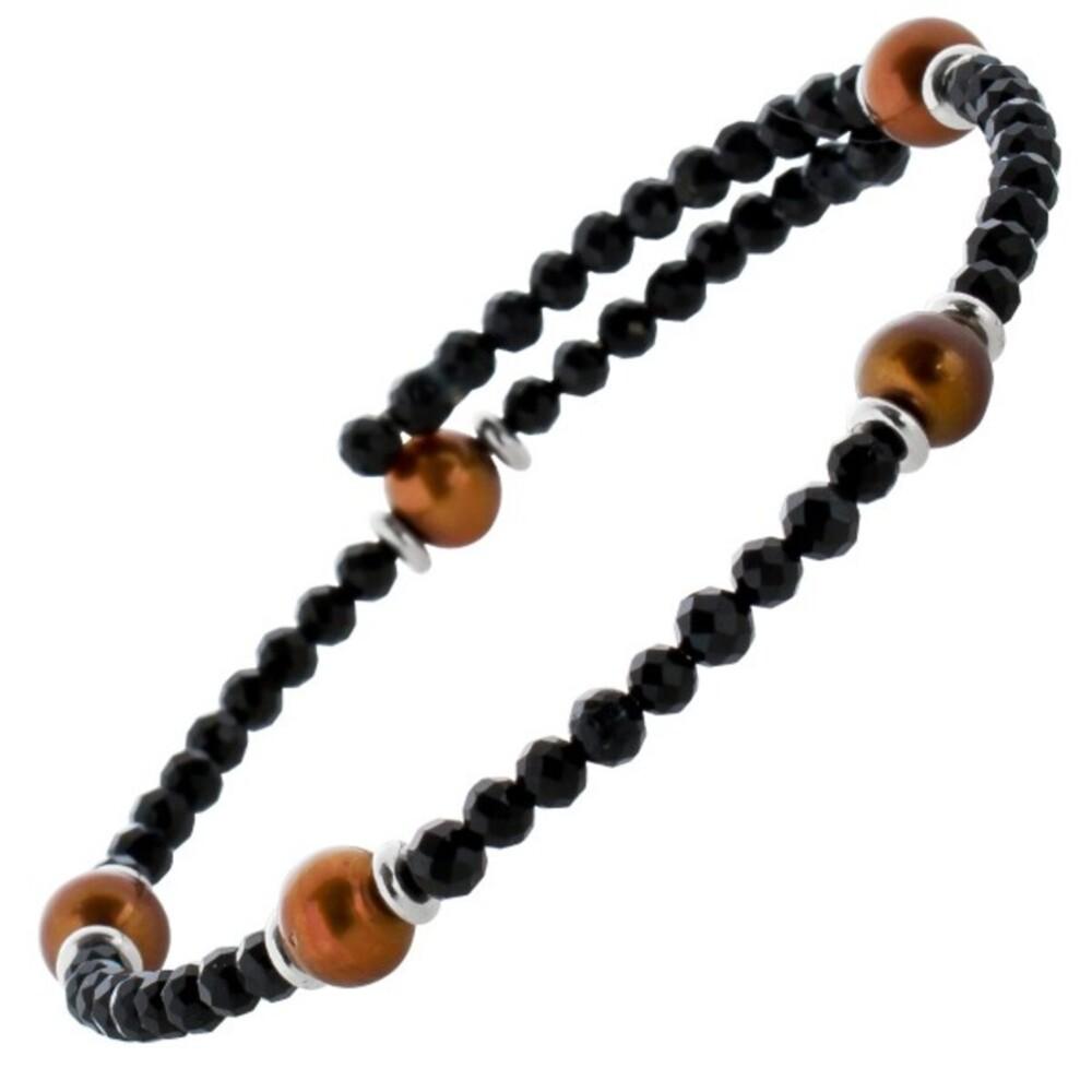 Edelstein Perlen Armreif Armband Spinell 3mm facettiert braune Süsswasserperlen 6-7mm Einreihig Länge Variabel 17-20cm