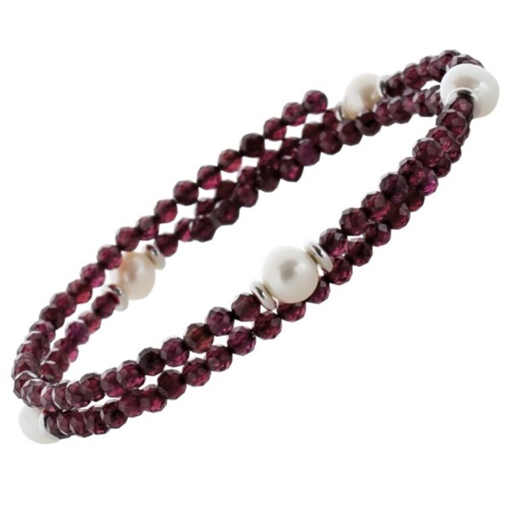 Edelstein Perlen Armreif Armband 2-reihig Granat 3mm facettiert weisse Süsswasserperlen 6-7mm Einreihig Länge Variabel 17-20cm