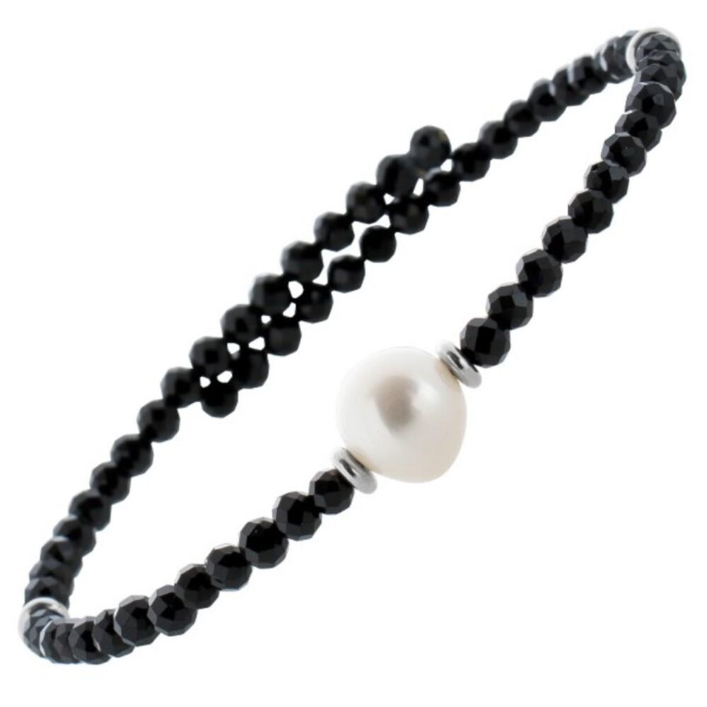 Edelstein Perlen Armreif Armband Spinell 3mm facettiert weisse Süsswasserperlen 8mm Einreihig Länge Variabel 17-20cm
