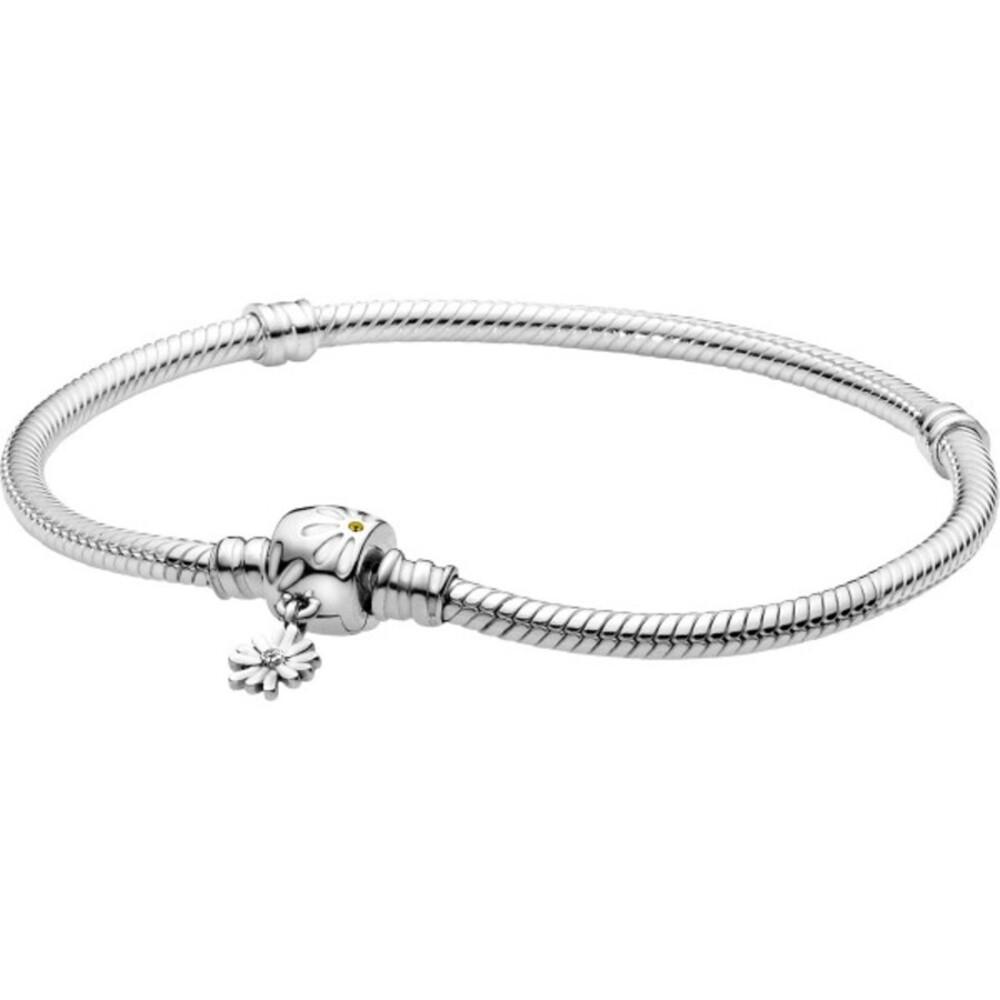 Pandora Garden Armband 598776C01 Moments Daisy Flower Clasp Snake Chain Bracelet Silber 925 Gelb Kristall Klare Zirkonia Weiß Emaille