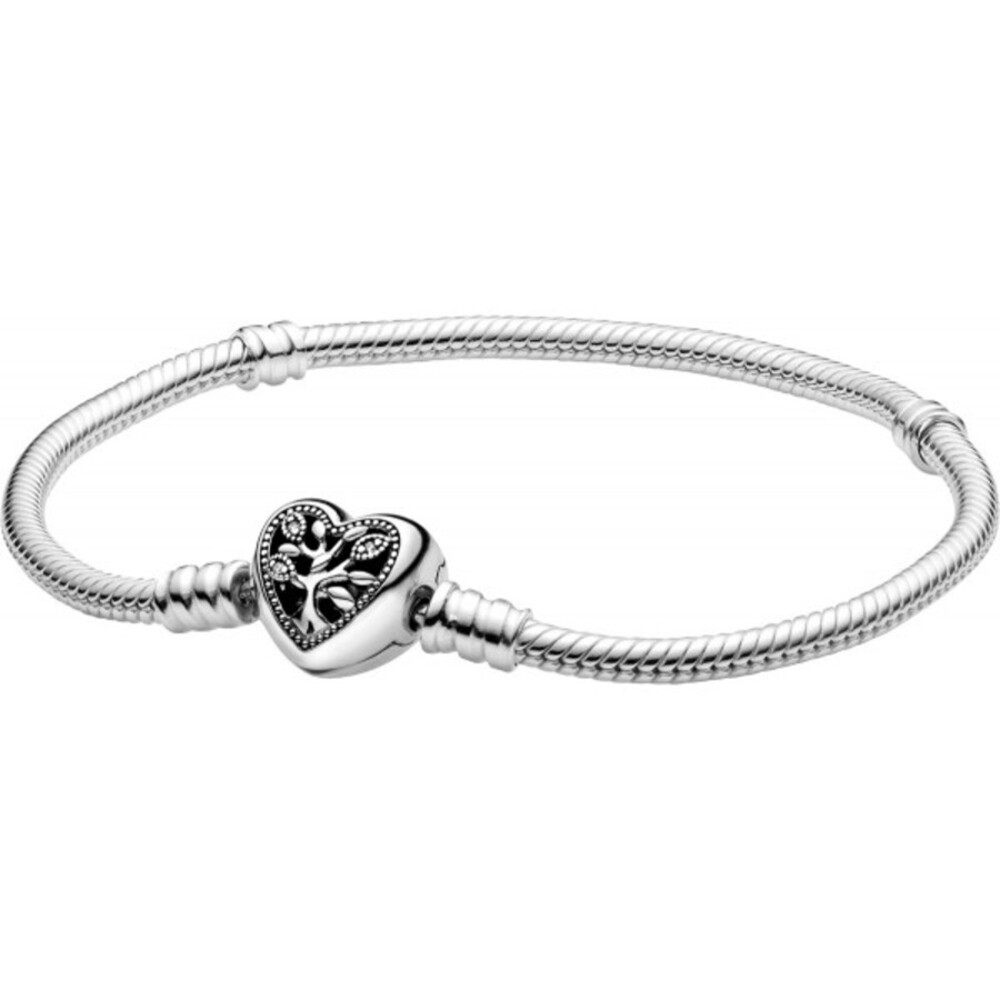 Pandora People Armband 598827C01 Pandora Moments FamilyTree Heart And Snake Chain Bracelet Silber 925 Klare Zirkonia Schwarz Emaille
