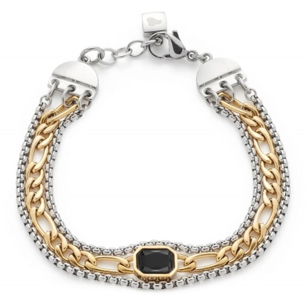 Leonardo Armband Savona 018303 Edelstahl Edelstahl IP Gold Schwarzer Glaskristall