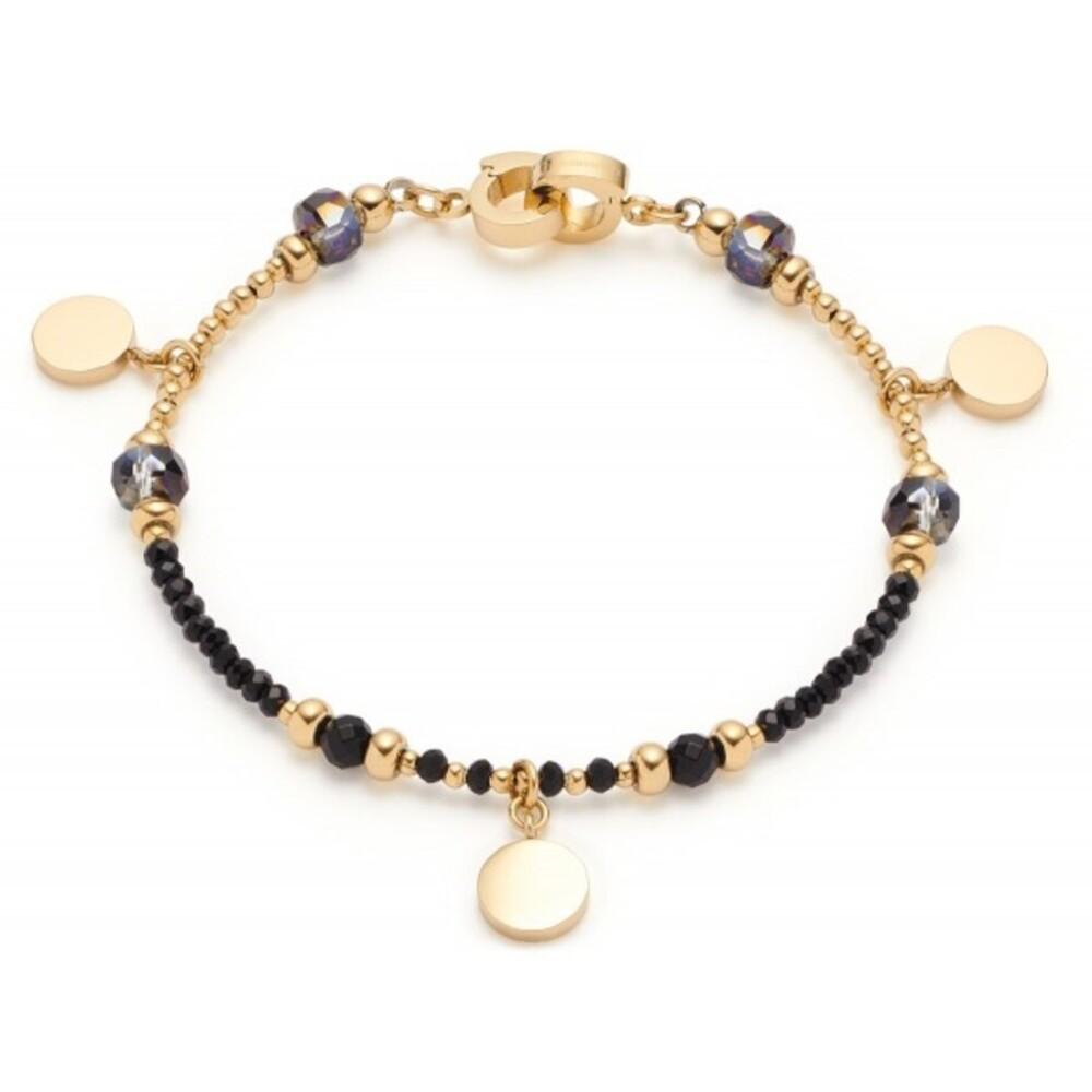 Leonardo Armband Cesira Clip&Mix 018305 Edelstahl IP Gold Schwarze Glasperlen