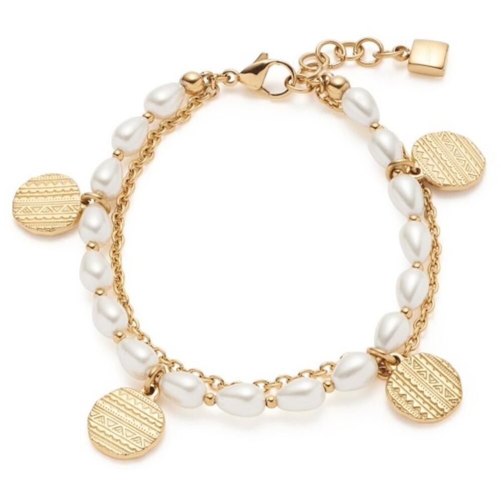 Leonardo Armband Ava 018307Edelstahl IP Gold Imitationsperlen