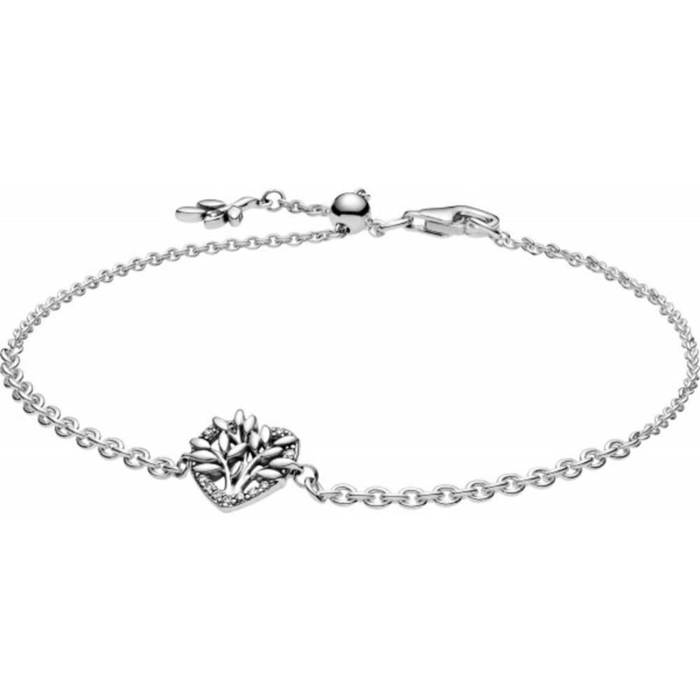 Pandora People Armband 599292C01 Pandora Heart Family Tree Bracelet Silber 925 Klare Zirkonia