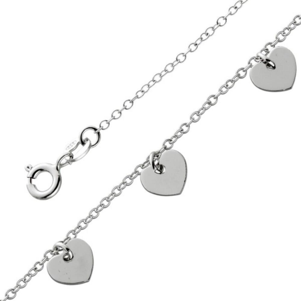 Boho Armband Silber 925 Herz Plättchen Anhänger Ibiza Hippie 17+3cm Verlängerungskette