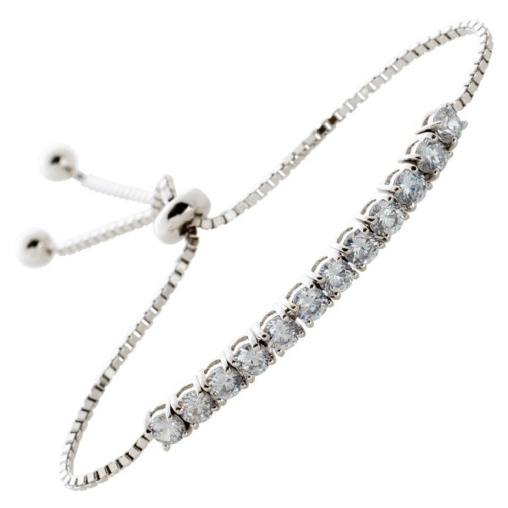Zugarmband Silber 925 weisse Zirkonia, Länge Stufenlos verstellbar