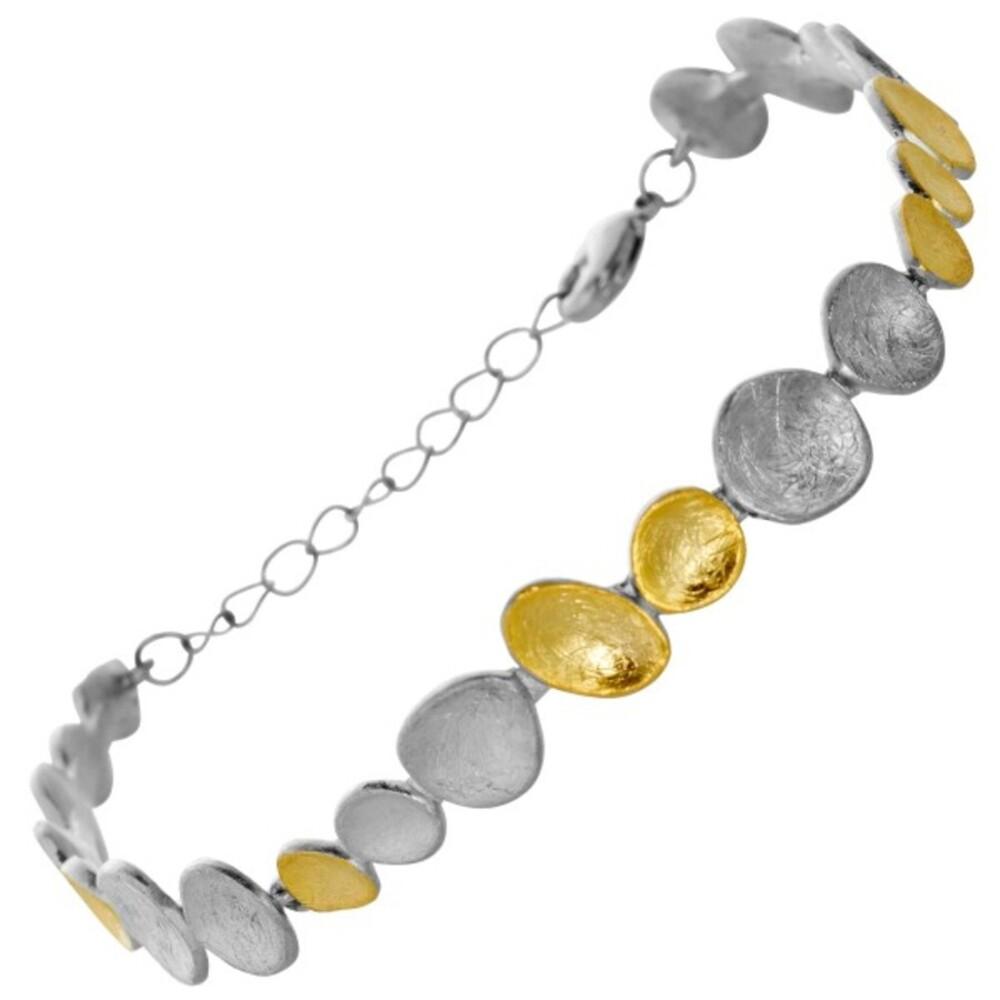 Armband Edelstahl teilweise verglodet Vivien Lee Stein Design 15+7cm