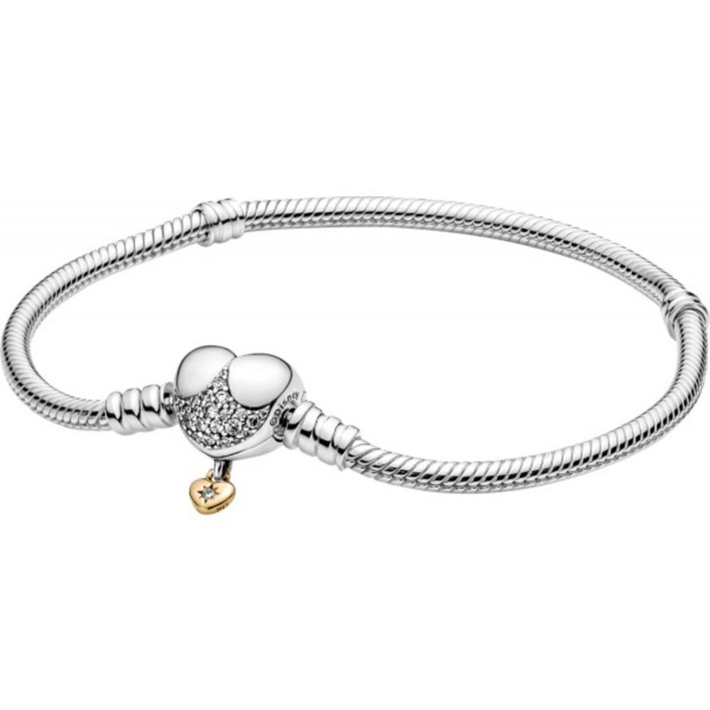 Pandora Disney Armband 569563C01 Moments Heart Clasp Snake Chain Bracelet Sterling Silber 925 cubic circonia