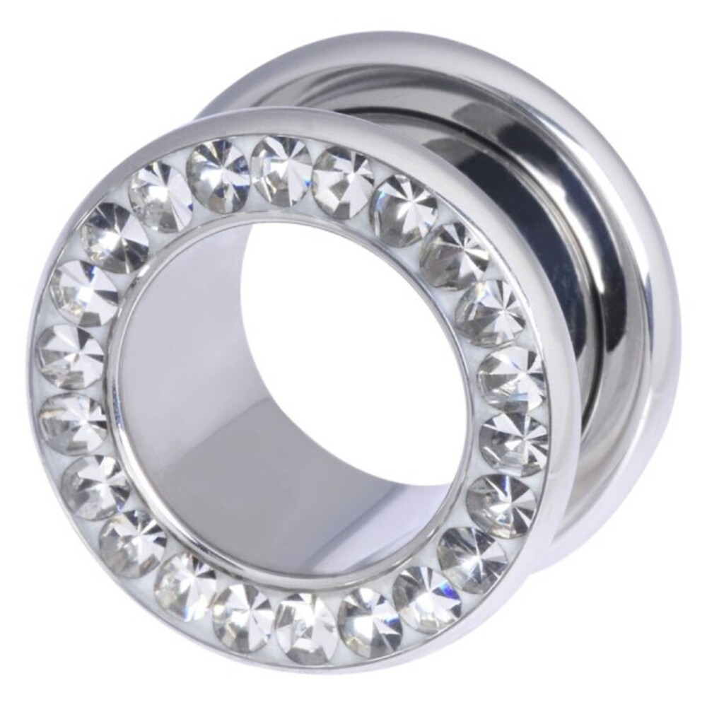 Piercing Tunnel 3 bis 18mm Durchmesser Chirurgenstahl 316L  klare Swarovski Kristalle