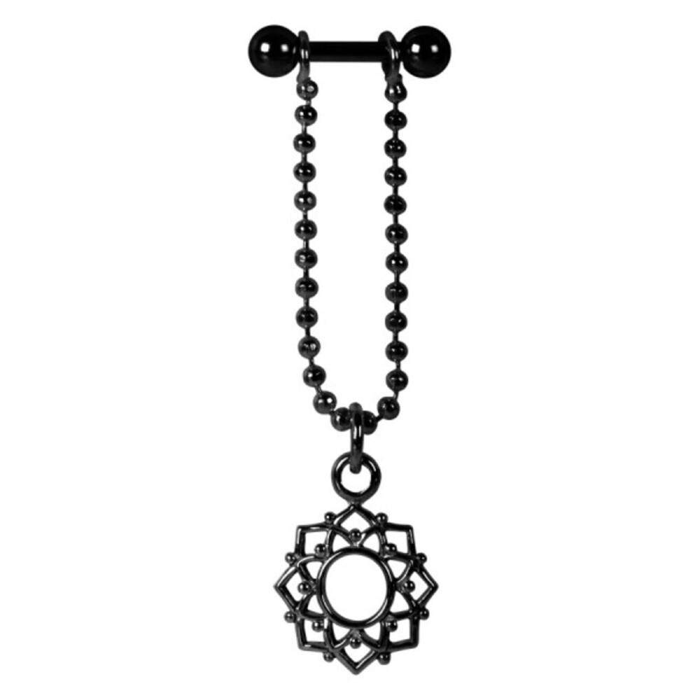 Piercing Barbell Stab 1,2x6mm Mandala Blumen Anhänger Helix Ohr Chirurgenstahl PVD schwarz