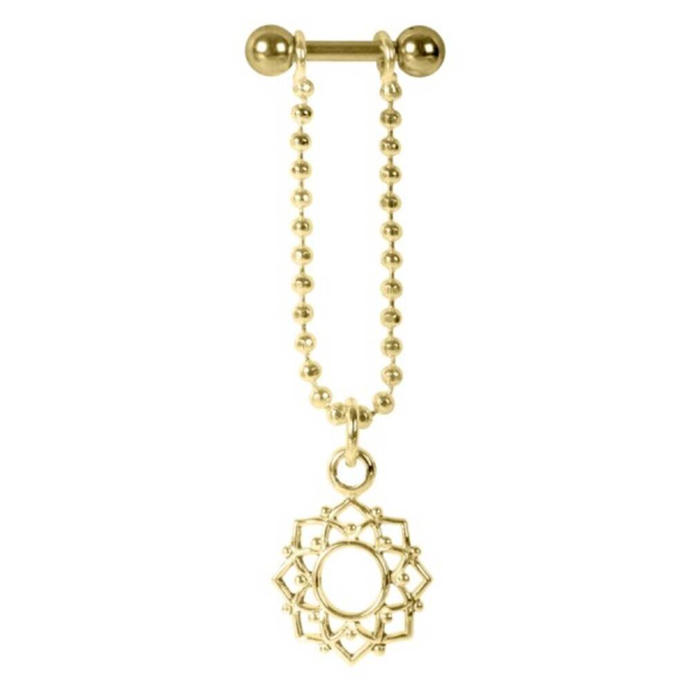 Piercing Barbell Stab 1,2x6mm Mandala Blumen Anhänger Helix Ohr Chirurgenstahl PVD gold