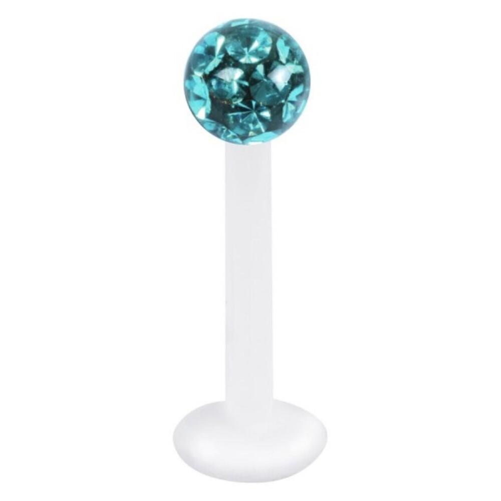 Piercing Labret hautverträglicher Kunststoff Stab 1,2mm Stärke blaugrüner Zirkon