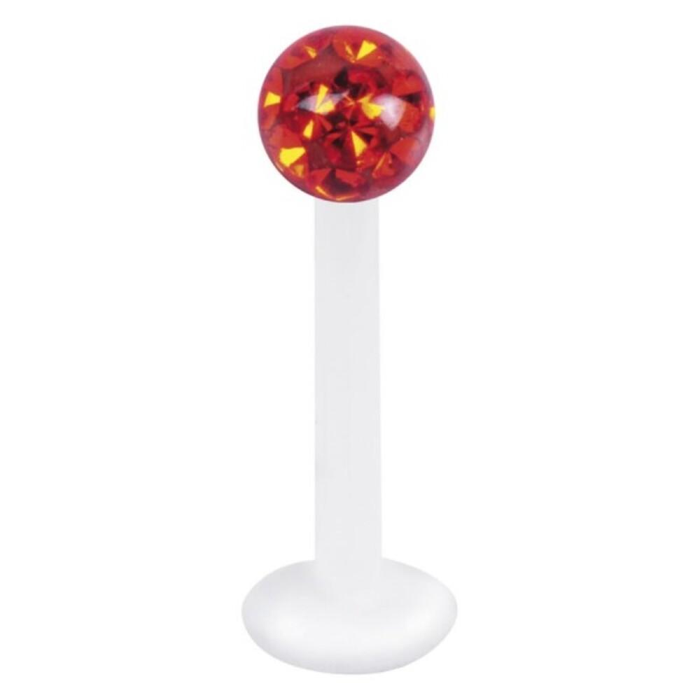Piercing Labret hautverträglicher Kunststoff Stab 1,2mm Stärke Orange