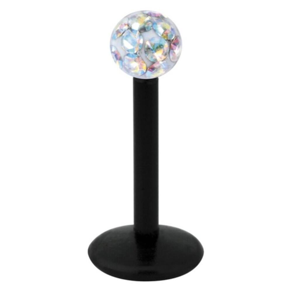 Piercing Labret hautverträglicher Kunststoff Stab schwarz 1,2mm Stärke Aurora Boreale