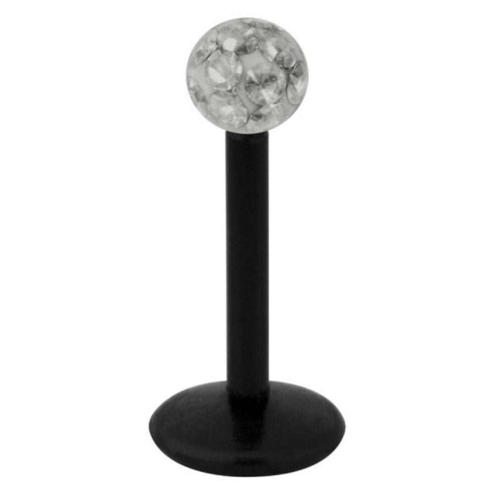 Piercing Labret hautverträglicher Kunststoff Stab schwarz 1,2mm Stärke schwarz Diamant