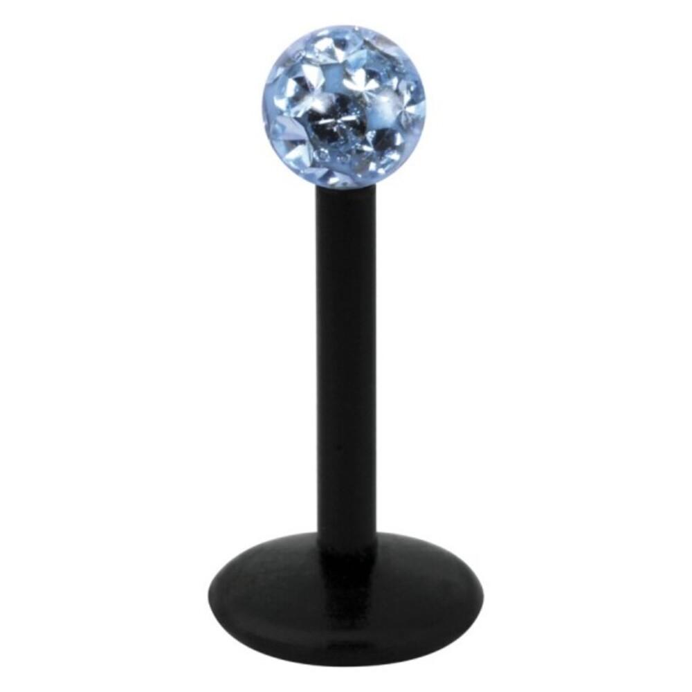 Piercing Labret hautverträglicher Kunststoff Stab schwarz 1,2mm Stärke hellblau