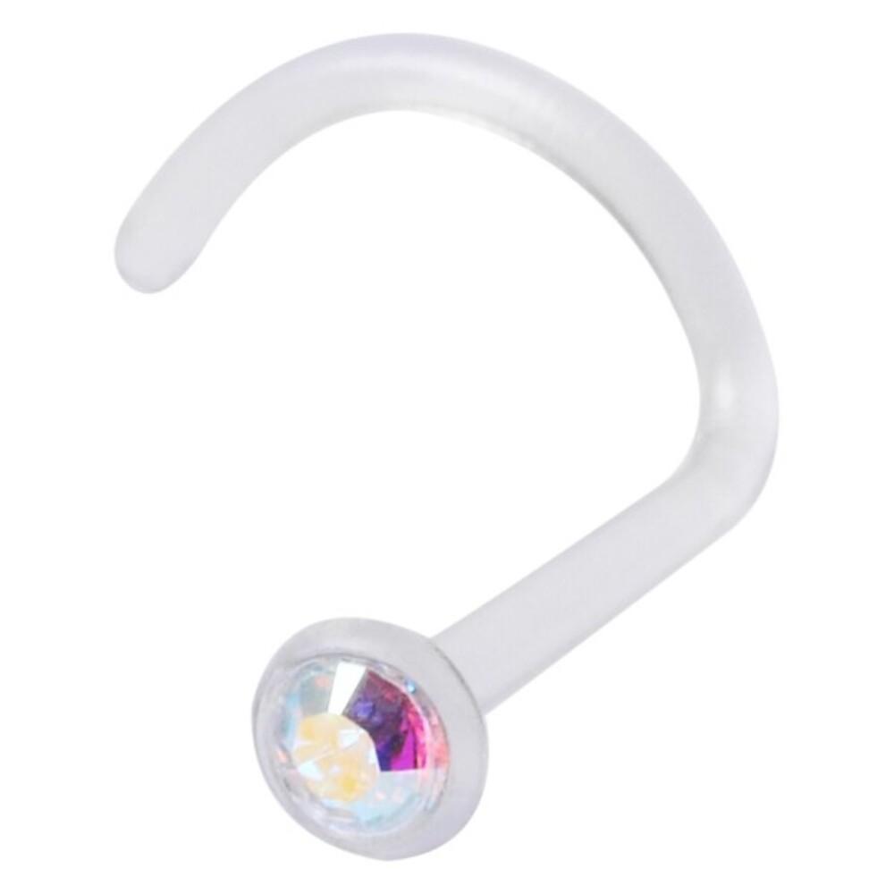 Piercing Nose hautverträglicher Kunststoff Stecker 1mm Stärke Aurora Boreale