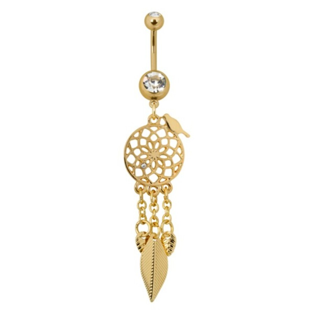 Piercing Bananabell Chirurgenstahl PVD gold 1,6mm Stärke Bauchnabel Traumfänger klarer Kristall