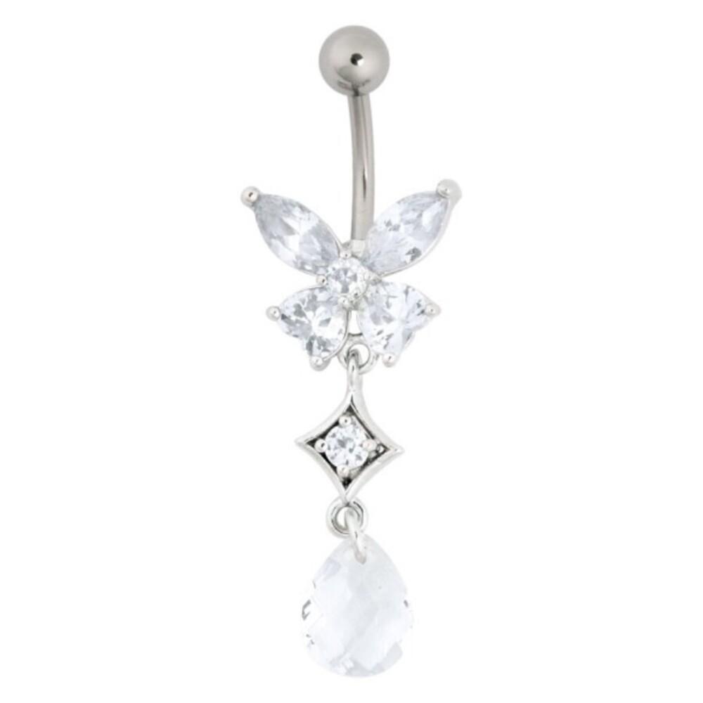 Piercing Bananabell Chirurgenstahl 1,6mm Stärke Bauchnabel Schmetterling klare Swarovski Kristalle