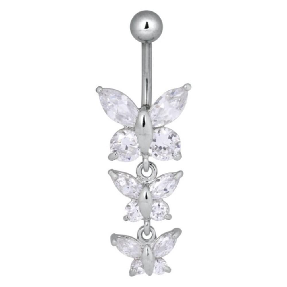Piercing Bananabell Chirurgenstahl 1,6mm Stärke Bauchnabel dreifach Schmetterling Swarovski Kristalle