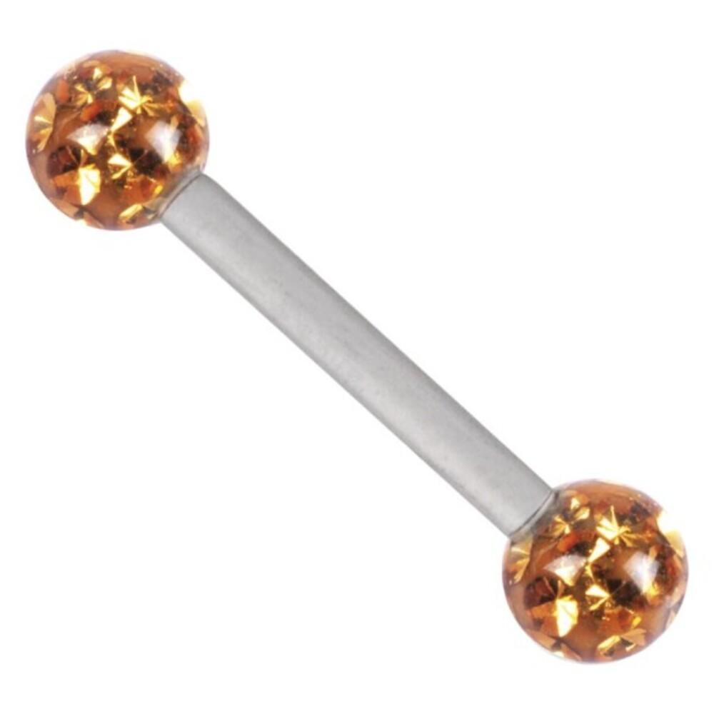 Piercing Barbell Titan 1,6mm Stärke Kugel 4mm gelb