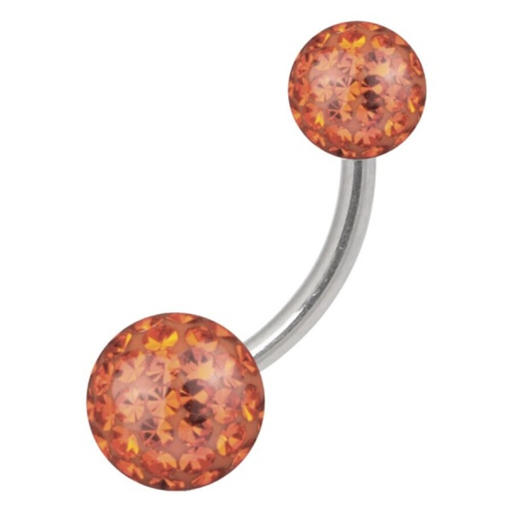 Piercing Bananabell Titan 1,6mm Stabstärke edle Kristalle orange