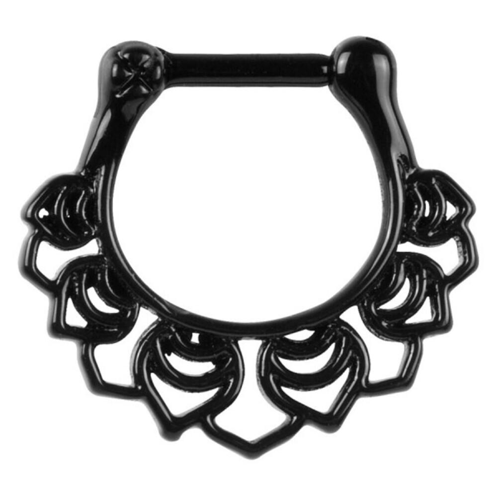 Piercing Septum Stab Chirurgenstahl 316L PVD black schwarz  Ring aus Metall Klicker 10mm