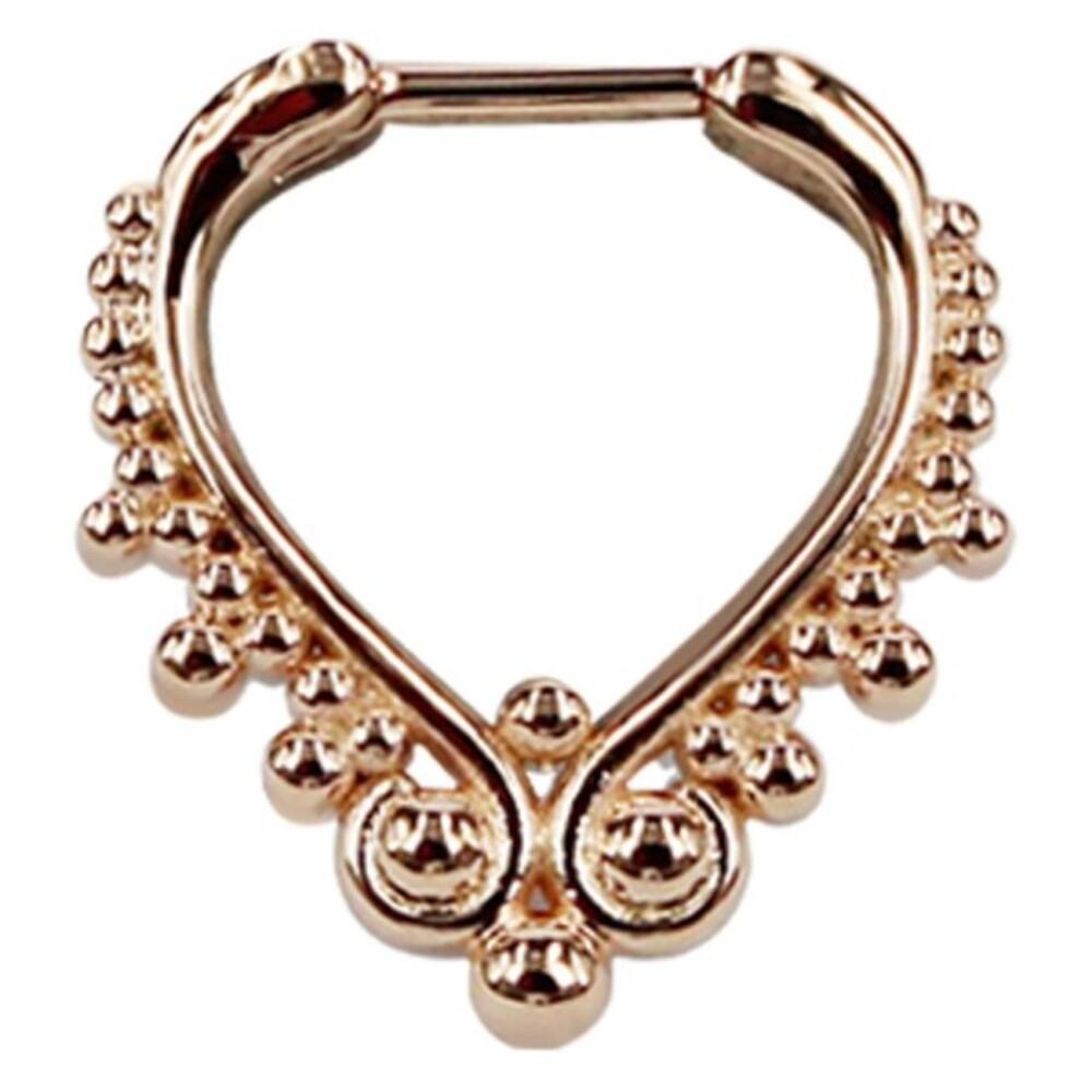 Piercing Septum Steg Chirurgenstahl 316L PVD rose Ring aus Metall Klicker 10mm