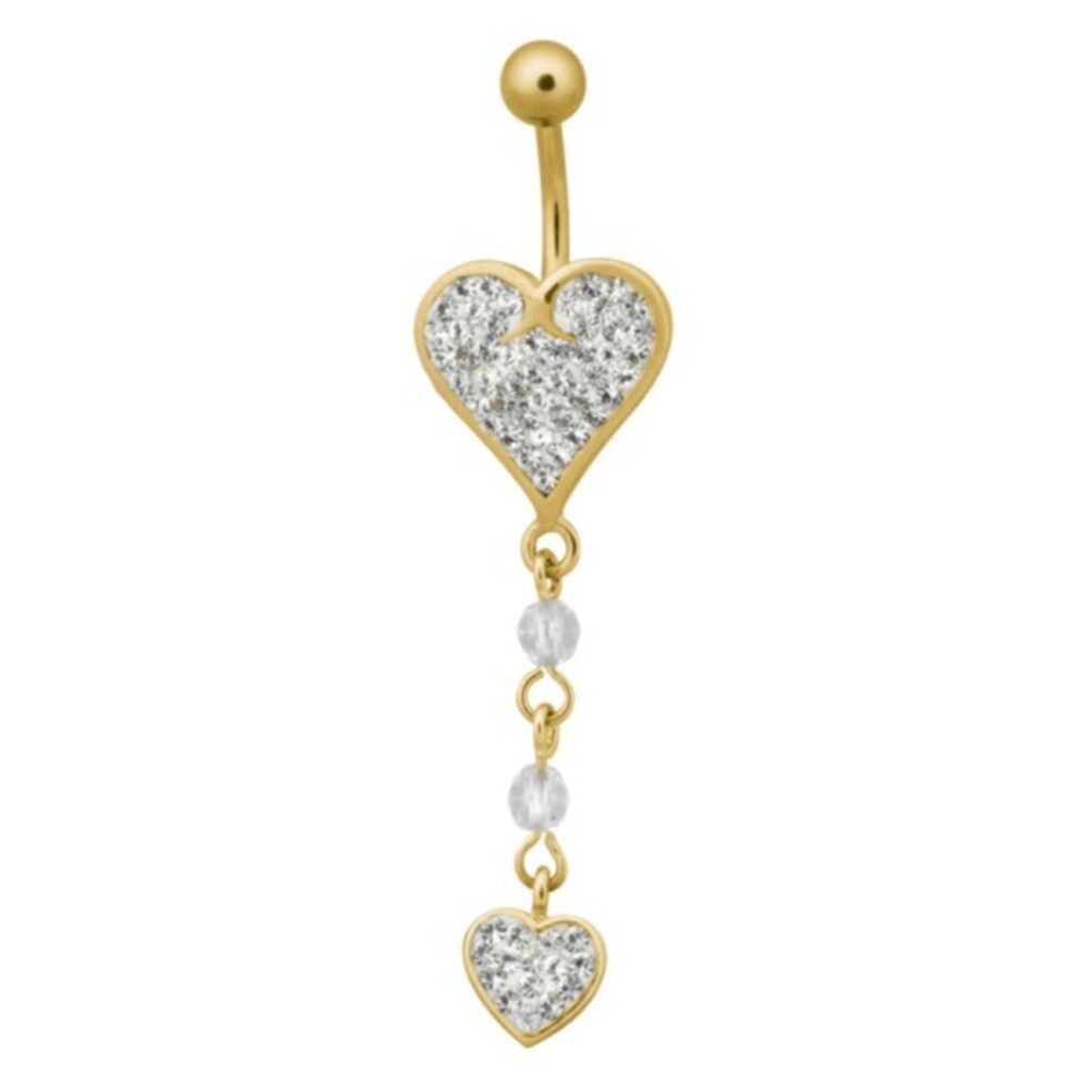 Piercing Bananabell Chirurgenstahl PVD gold 1,6mm Stärke Bauchnabel Double Heart