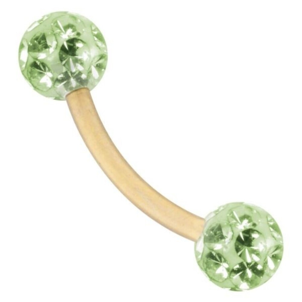 Piercing Bananabell Titan IP gold hellgrüne Kristalle Stabstärke 1,2mm Kugel 3mm Durchmesser Stablänge 8mm Bauchnabel
