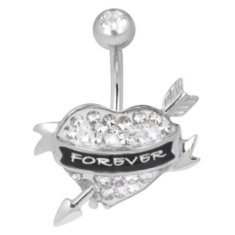 Bauchnabel Piercing Heart Forever Chirurgenstahl Herzform Pfeil Crystal Evolution Swarovski Kristalle Stärke 1,6mm