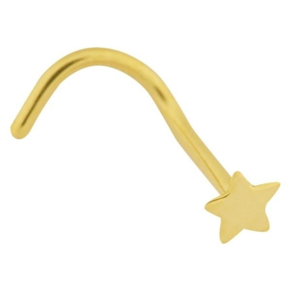Nasenstecker Piercing Gelbgold 750 Stern poliert 0,8mm Stärke