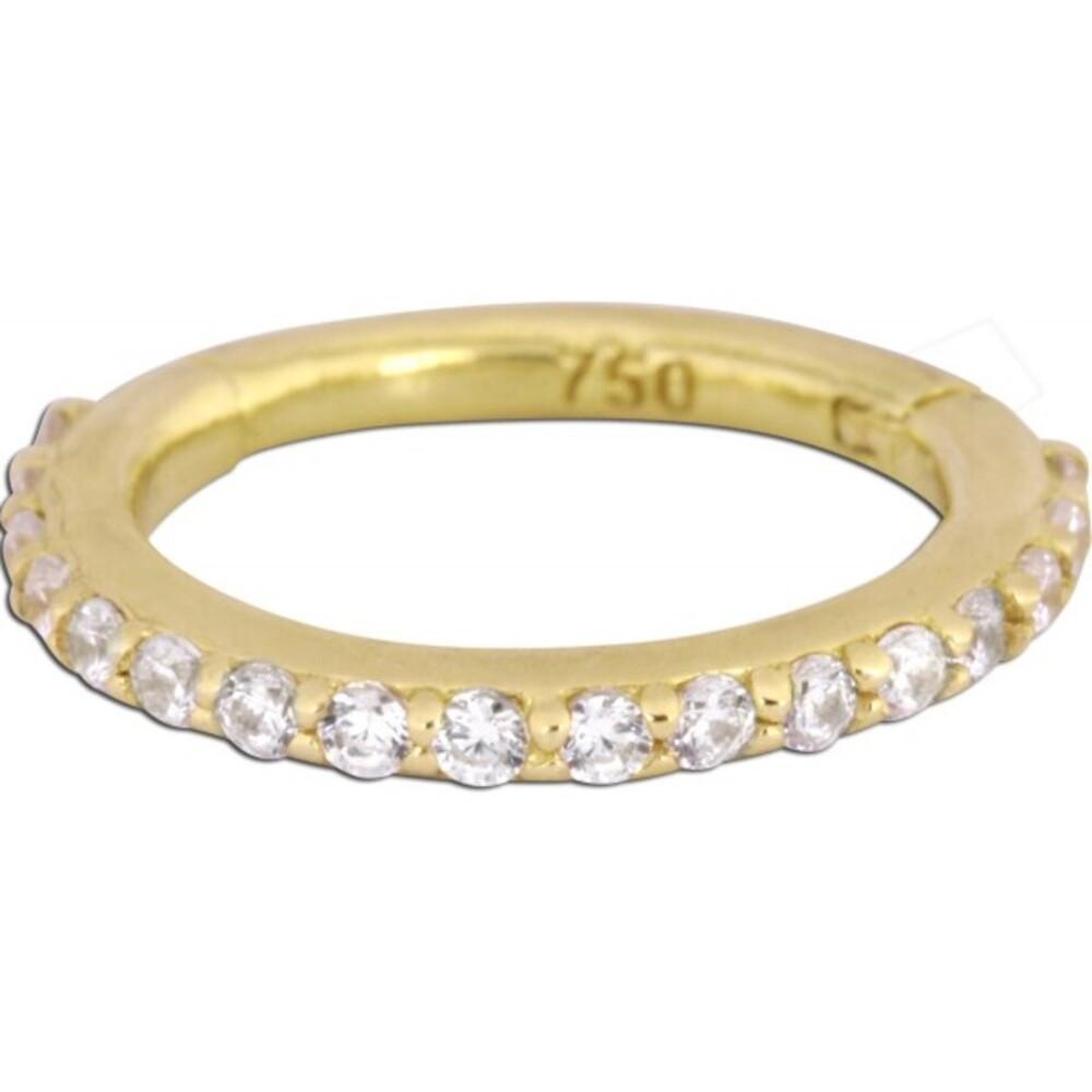 Wildcat Hinged Ring Ohr Piercing Gold 750 unterschiedliche Durchmesser Stärke 1,2mm Scharnier klare Kristalle