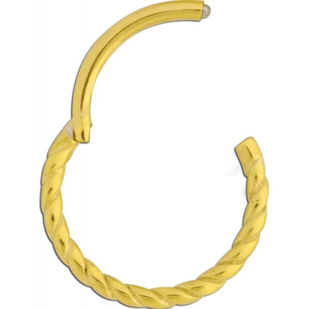 Wildcat Hinged Ring Twisted Rope Piercing Gold 750 Stärke 1,2mm Scharnier unterschiedliche Innendurchmesser