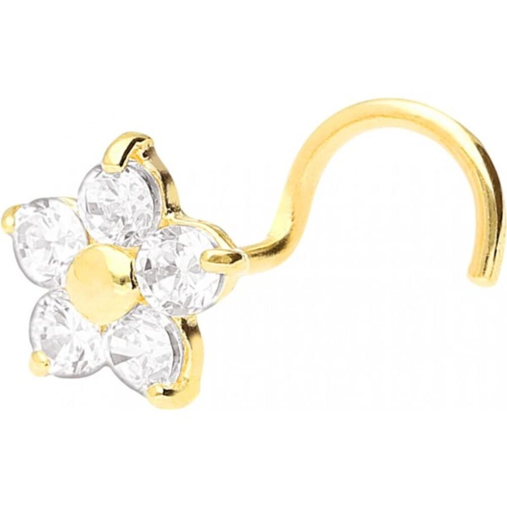 Wildcat Nasenstecker Gold 750 klare Kristalle Blumen Design Stärke 0,6mm Nasenpiercing