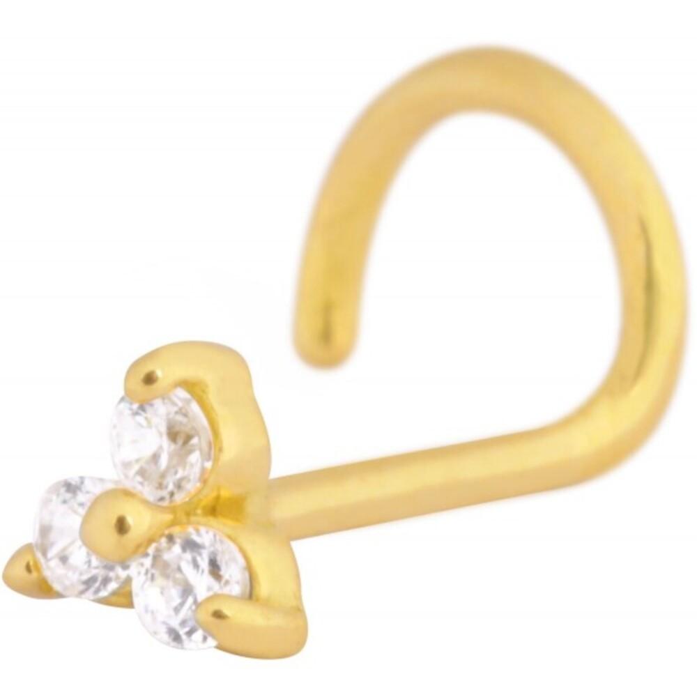 Wildcat Nasenstecker Gold 750 klare Kristalle Triangel Stablänge 6mm Stärke 0,6mm Nasenpiercing