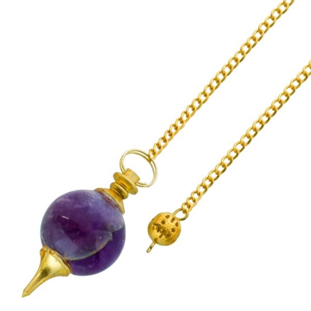 Edelsteinpendel Kugel Pendel lila violet Amethyst vergoldet