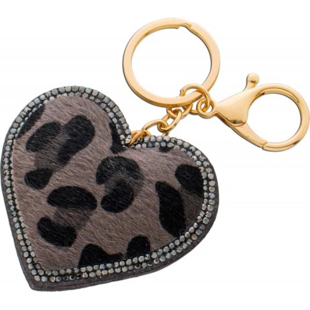 Herz Taschen Schlüsselanhänger Metall Leoparden Muster Kristallen  1