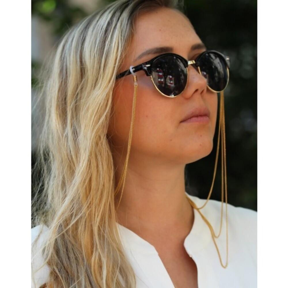 Sonnenbrillenkette Brillenkette vergoldetes Metall, 3- reihig unterschiedlicheLängen, maximal 75cm, T-Y_2