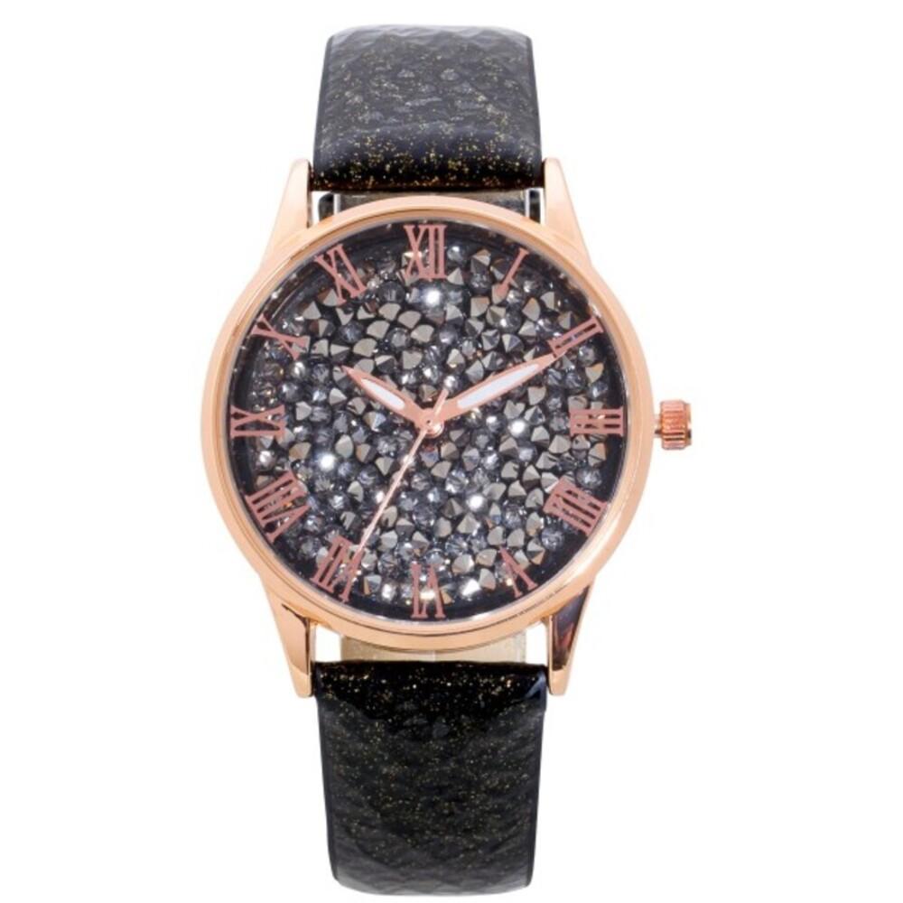 Uhr Damenuhr schwarz glitzer Lederband Rosegold vergoldet Kristalle Quarz Crystal Blue_05