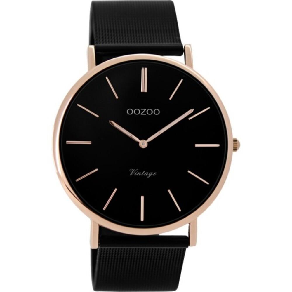 OOZOO Damenuhr C8869 schwarzes Mesh Armband Edelstahlgehäuse rose vergoldet Ø 40mm Durchmesser Markenuhren
