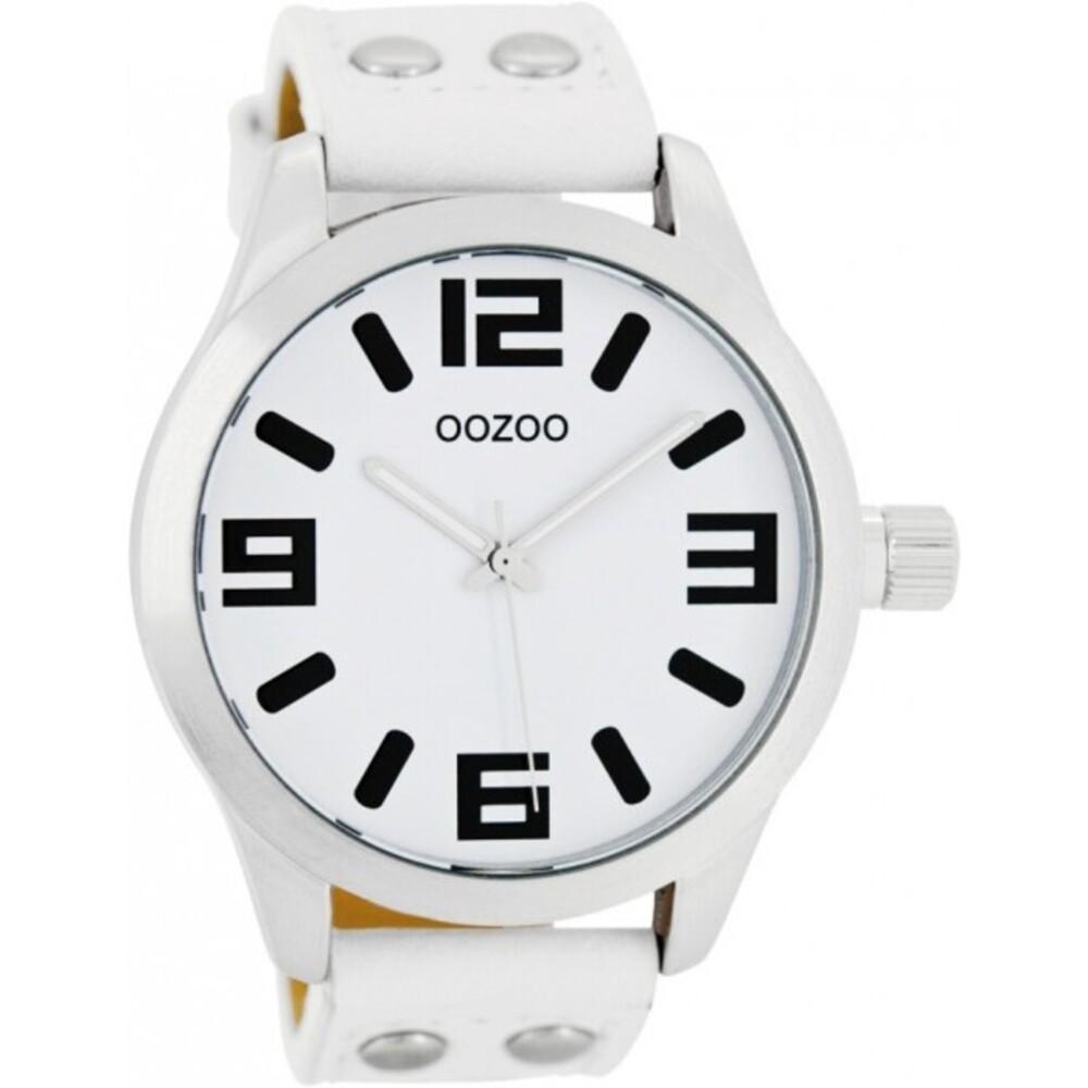 OOZOO Uhren C1050 Unisex weißes Lederband Nieten Silber Gehäuse matt 46mm
