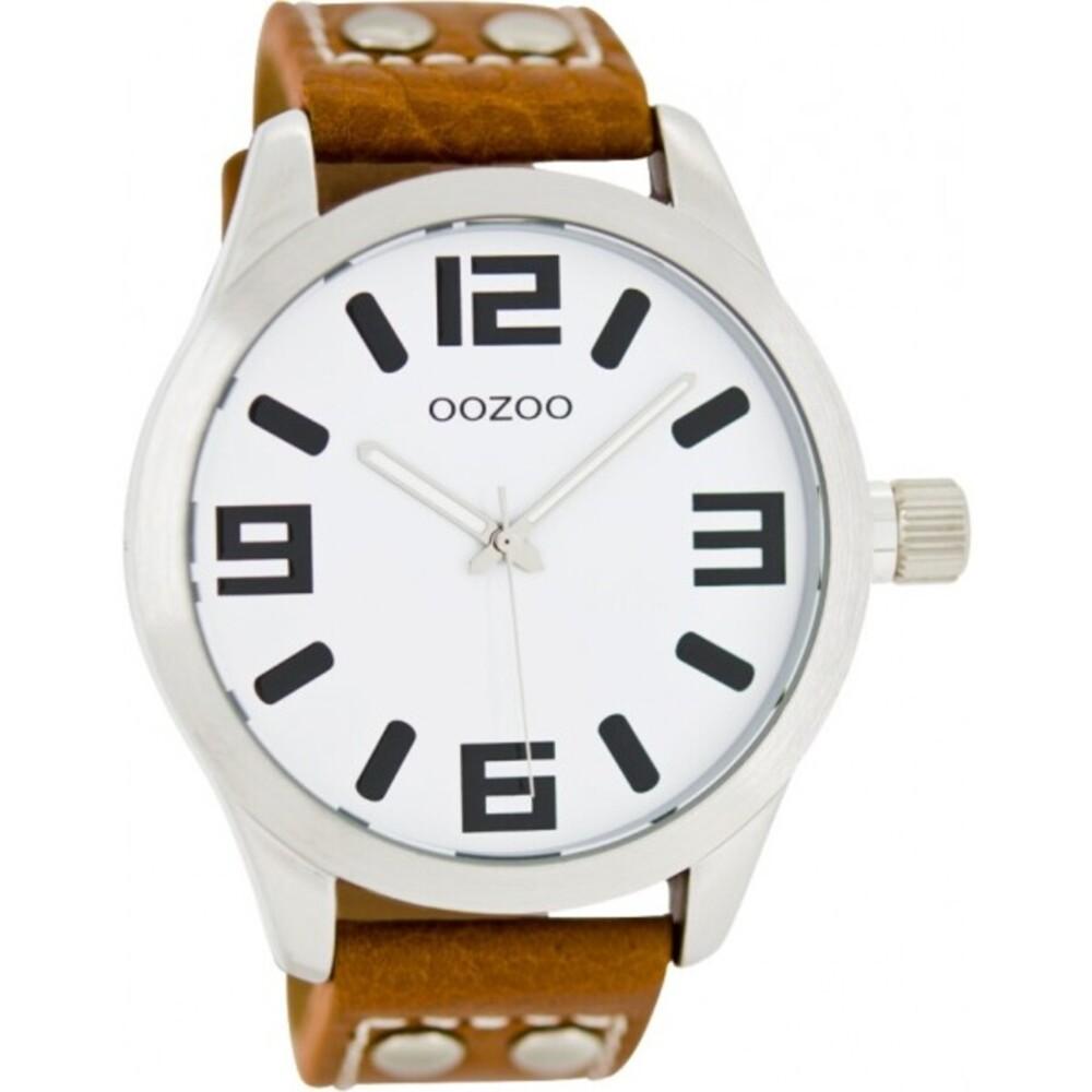 OOZOO Uhren C1051 braunes Lederarmband Nieten silber Gehäuse Unisex 46mm