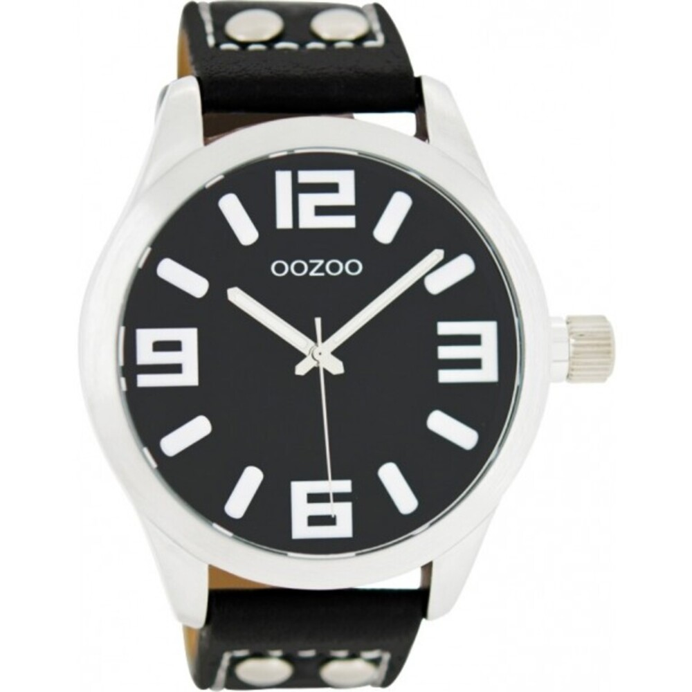 OOZOO Uhren C1054 schwarzes Nieten Lederarmband Silber Gehäuse Unisex 46mm