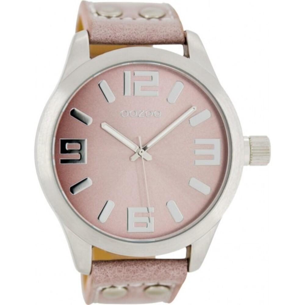 OOZOO Uhren C1058 pinkgraues Nieten Lederarmband Silber Gehäuse mattiert Damenuhr 46mm