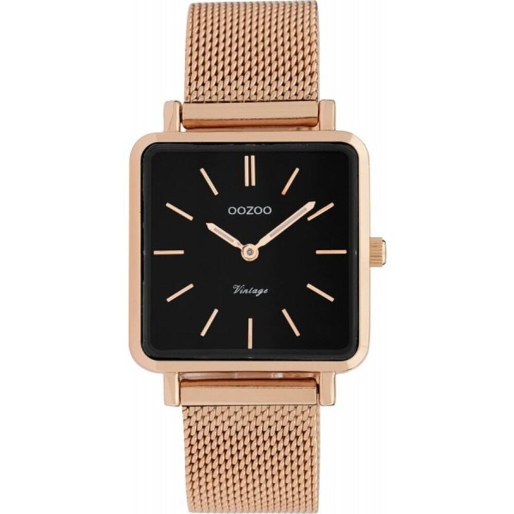 OOZOO Uhren C9848 rosegold Edelstahl Milanaise Armband Metallgehäuse rose Damenuhr quadratisch 28x28mm