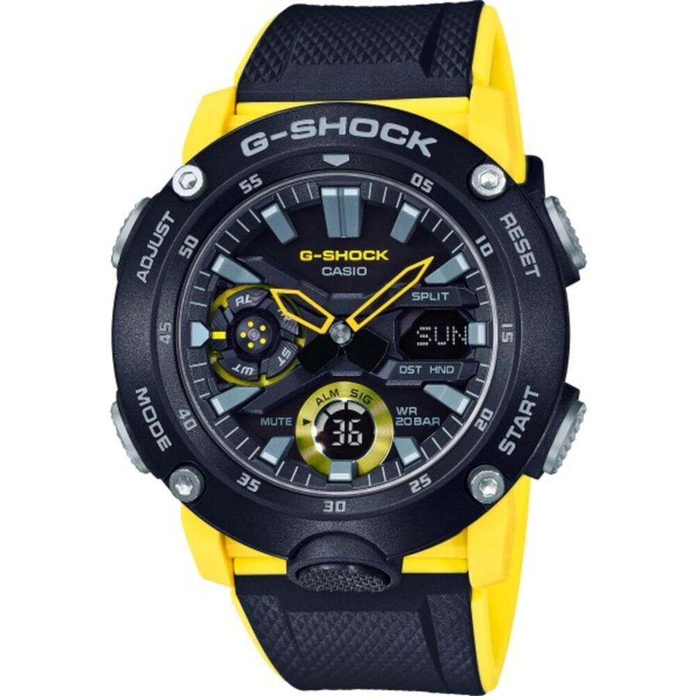 CASIO Unisexuhr GA-2000-1A9ER gelb schwarzes Resin Armband G-Shock Analog Digital